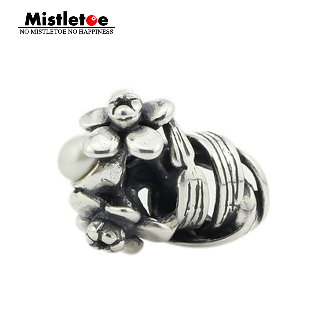 Mistletoe Jewelry Genuine 925 Sterling Silver Daffodil of March With White Pearl Charm Bead Fits European Troll 3.0mm Bracelet(China)