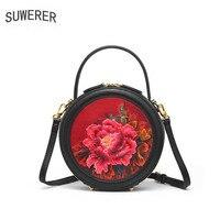 SUWERER 2019 новые женские сумки из натуральной кожи роскошные сумки Женская Сумка Дизайнерские коровья тисненые круглые сумки женские кожаные