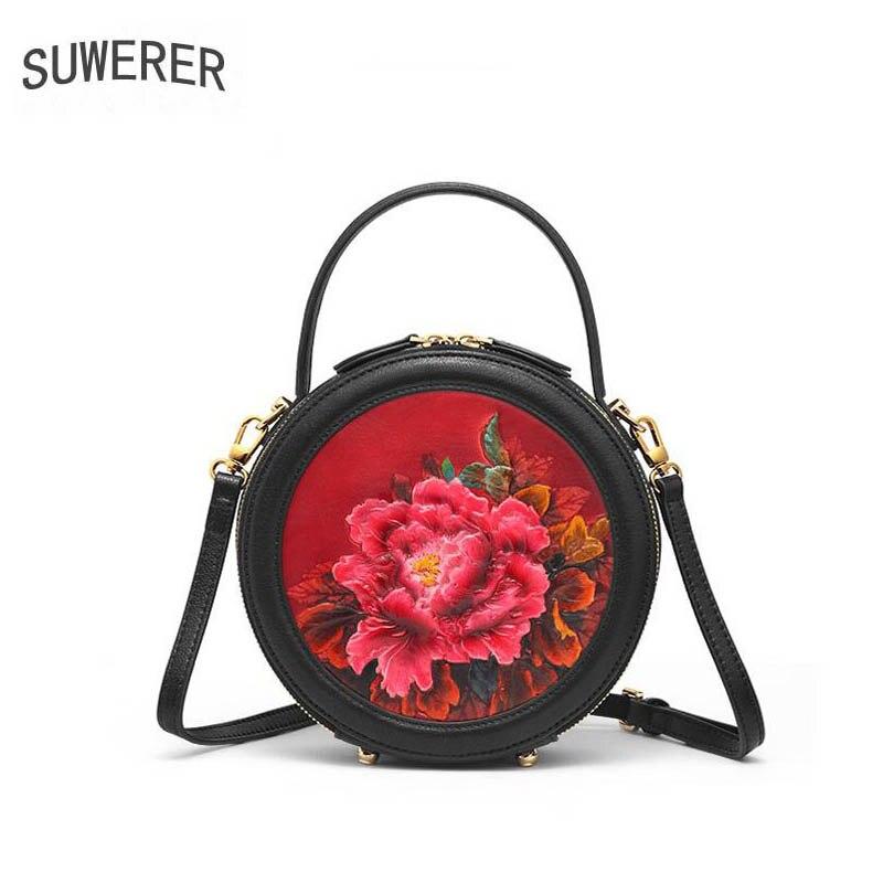 SUWERER 2019 Novas Mulheres Genuína bolsas De Couro bolsas de luxo mulheres saco do desenhador saco Rodada saco de ombro das mulheres de couro de vaca Em Relevo