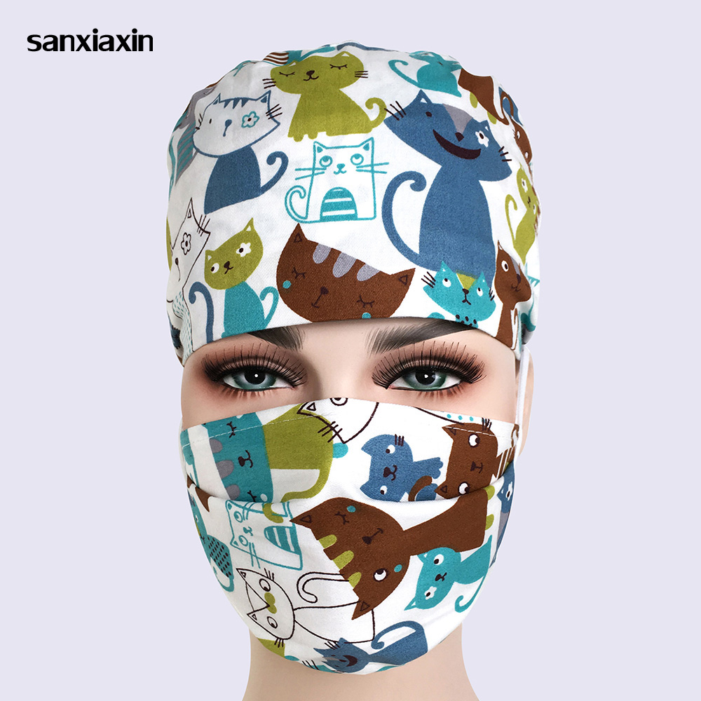 Sanxiaxin New Cotton Scrub Caps For Women And Men Hospital Medical Hats Print Cat In Black Tieback Elastic Section Surgical Caps