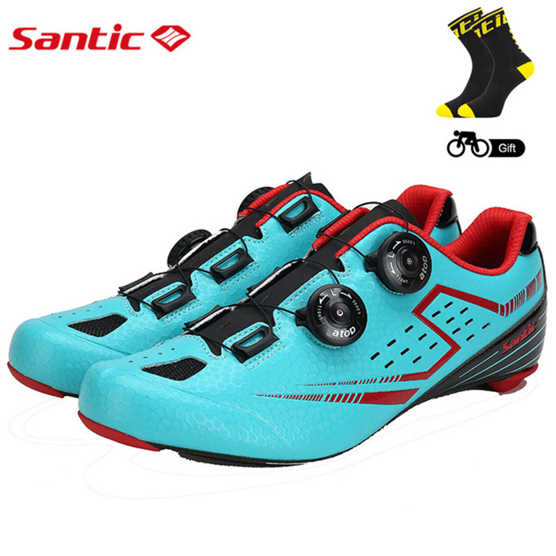 Santic Men's Cycling Road Shoes with Carbon Fiber Sole Light Bike Bicycle Riding Shoes for Men Breathable Annular Alignment west biking bike chain wheel 39 53t bicycle crank 170 175mm fit speed 9 mtb road bike cycling bicycle crank