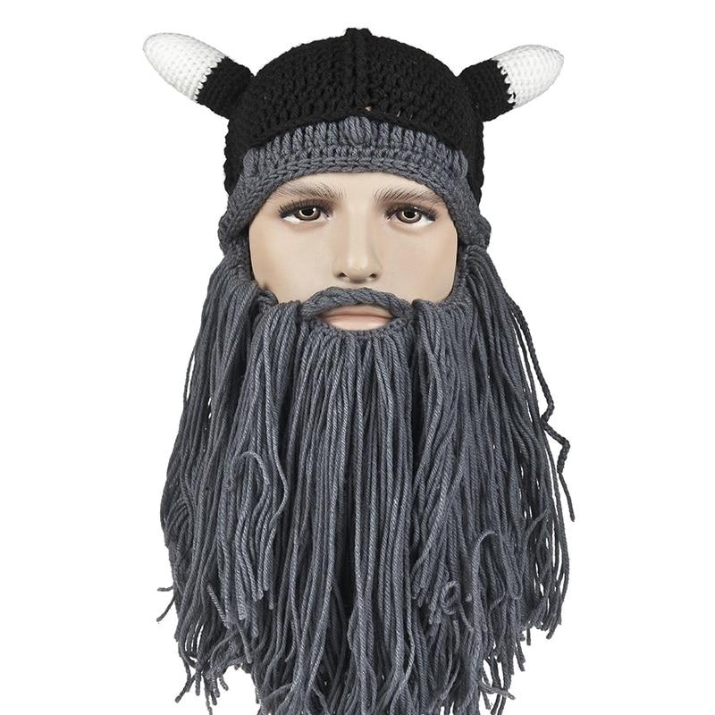 2018 Funny Men s Winter Hats Barbarian Vagabond Viking Beard hat Ox Horn  Handmade Beanie Knit Warm Man Caps Birthday Party Gifts ecbad5c9fa0