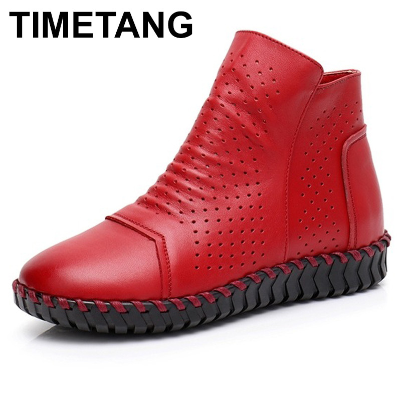 TIMETANG Women Boots Genuine Leather Ankle Boots Hollow Summer Boots Chaussures Femme Comfortable Flat Women Shoes Large Size цены онлайн
