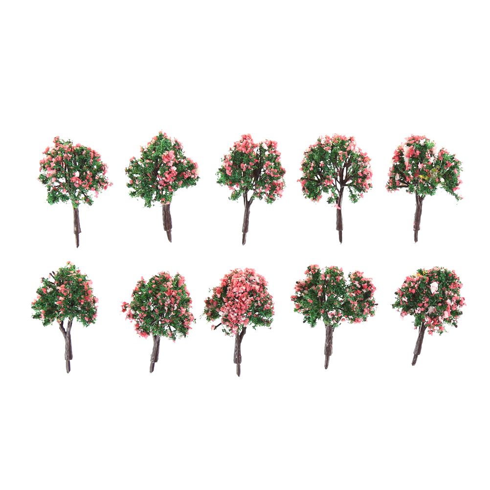 10pcs 4cm Model Trees Landscape Scenery Train Model Tree With Pink Flower For Railroad Scenery Scale 1/300