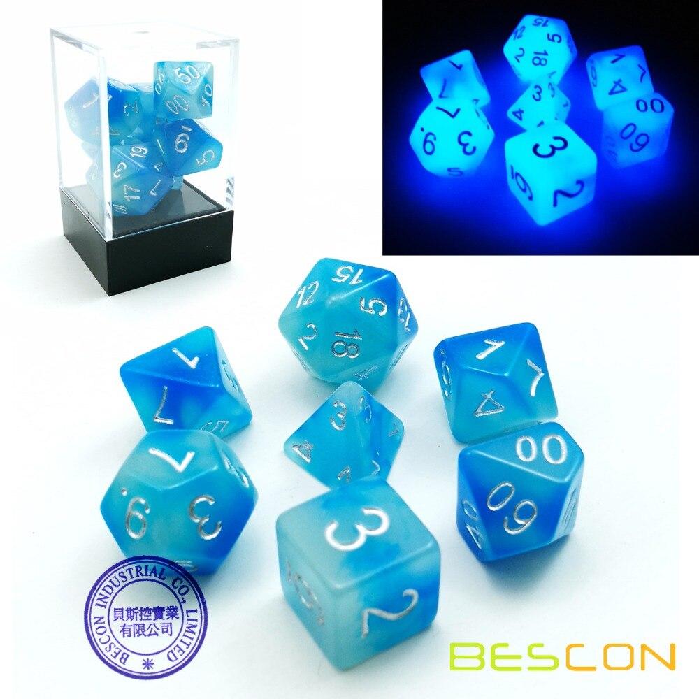 Bescon Gemini Glowing Polyhedral Dice 7pcs Set ICY ROCKS, Luminous RPG Dice Set d4 d6 d8 d10 d12 d20 d%, Brick Box PackagingPuzzles & Games