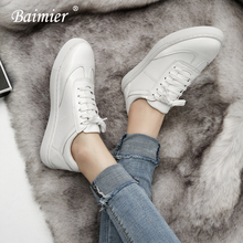 Baimier Genuine Leather White Women Sneakers 2018 Spring Street Style Lace up Running Shoes Casual Comfortable Women Flat Shoes