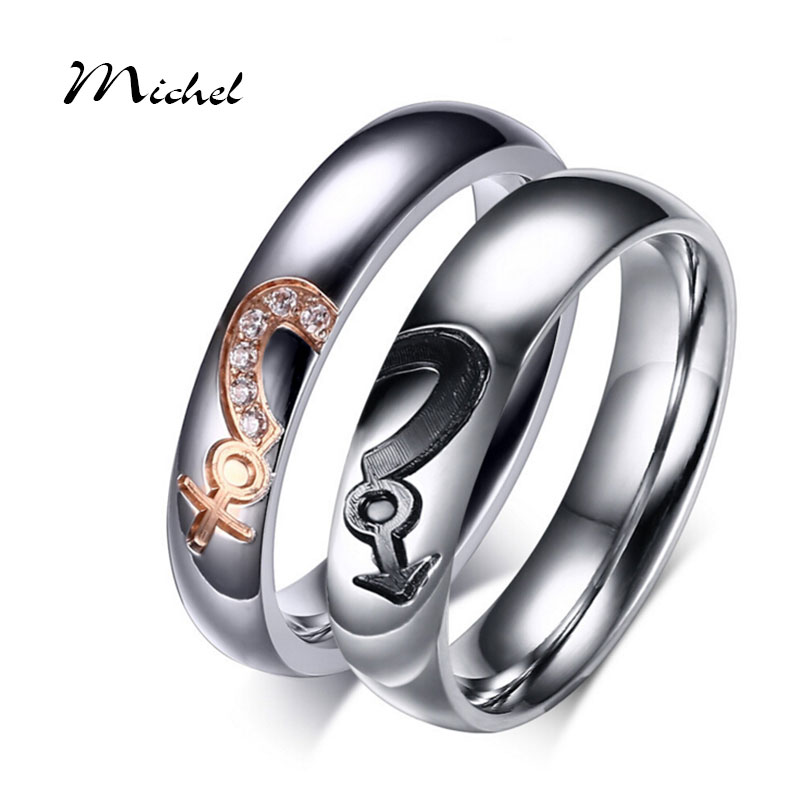 keisha lena new arrival wedding rings femal male heart puzzle stainless steel promise jewelry with cz