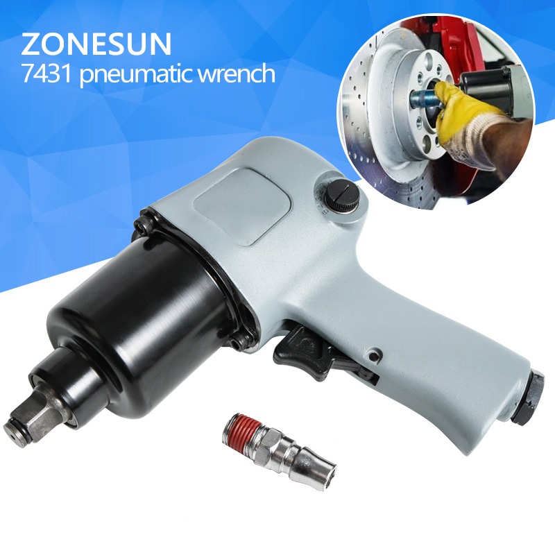ZONESUN 7431 16mm Bolt size Pneumatic Wrench Air Wrench Air Tools Spanners for Car Bicycle Repair Pneumatic Tools kit engineering pneumatic air driven mixer motor 0 6hp 1400rpm 16mm od shaft