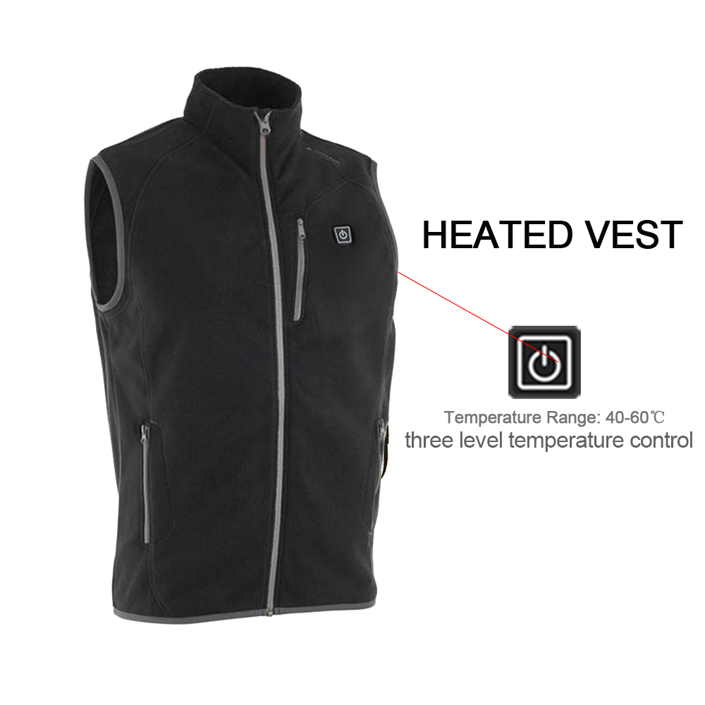 New arrival USB battery heating vest winter men vest charging Fleece vest balck coat to keep the body warm 3 mode size xs-xxl new charging heated down vest man skiing vest winter warm down thick vest camping hiking keep body warm black s xxxl