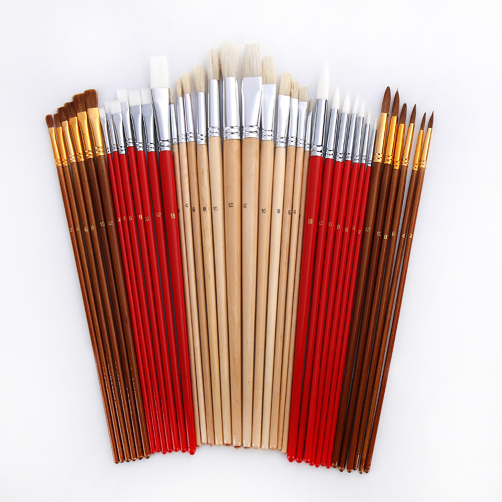 Brush Set with Canvas Holder Synthetic Hair - Set of 38 1