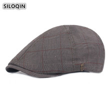 SILOQIN 2019 New Style Mens Cap European Simple Plaid Vintage Berets For Adult Men British Trend Retro Male Bone Dad Hats