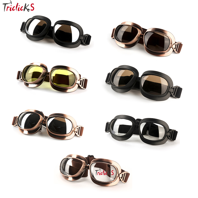 Triclicks Motorcycle Goggles Pilot font b Motorbike b font Goggles ABS Lens Glasses Retro Jet Helmet