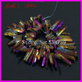Raw Titanium Purple/Gold Quartz Crystal Points Sticks Druzy Pendant Spikes Rainbow Electroplated Drilled Briolettes Beads