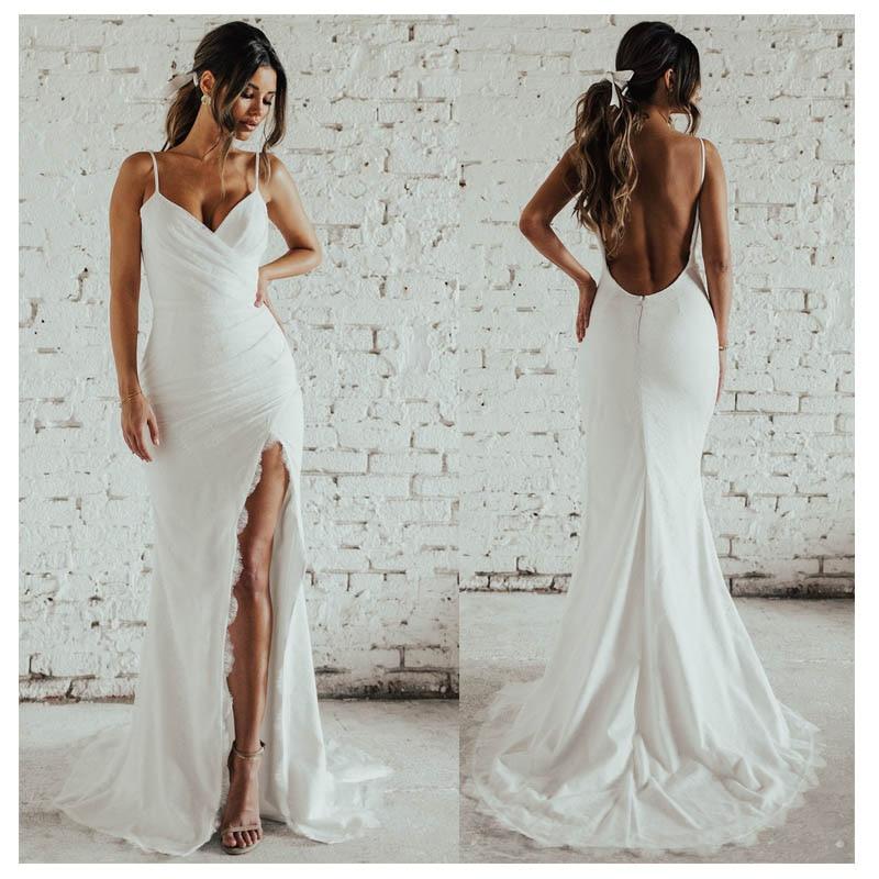 LORIE Sexy Ivory Mermaid Wedding Dress Side Split 2019 Vestidos De Novia Informal Bridal Gown Custom Made Backless Wedding Gowns