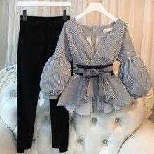 купить Plus Size Casual Women Lantern Sleeve Shirts 2 Pieces Sets Elegant Ladies Striped Pants Suit New Tops And Split Pencil Pant Suit по цене 1229.68 рублей
