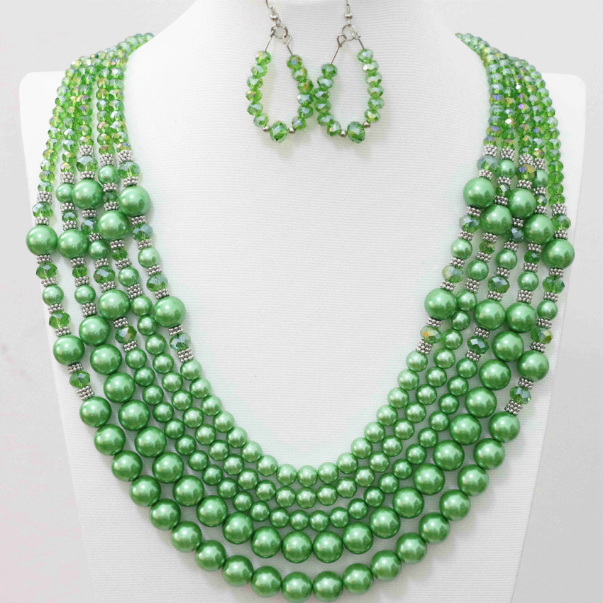 Green abacus glass crtstal round simulated-pearl shell beads 5 row necklace earrings jewelry set for women weddingss gift B983-9