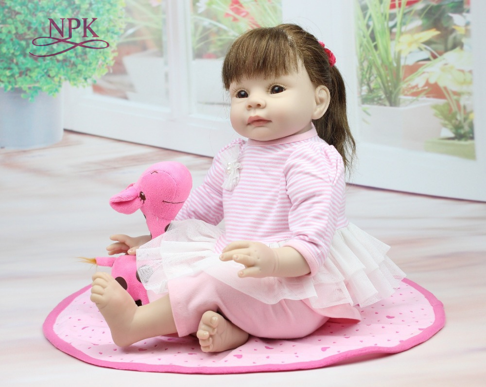 NPK Nicery 22inch 55cm Bebe Reborn Doll Soft Silicone Boy Girl Toy Reborn Baby Doll Gift for Children Pink Dress Girl nicery 18inch 45cm reborn baby doll magnetic mouth soft silicone lifelike girl toy gift for children christmas pink hat close