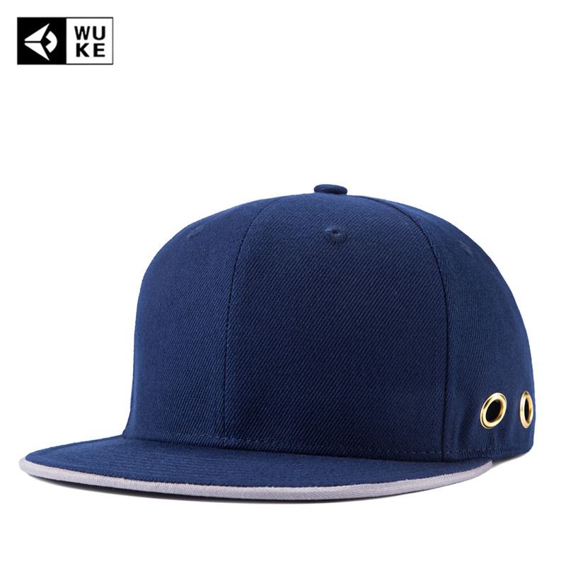 [WUKE] Brand High Quality Adjustable Blue Flat Along Caps Street Cap Men Women Snapback Cap Basketball Sports Bone Gorros Unisex