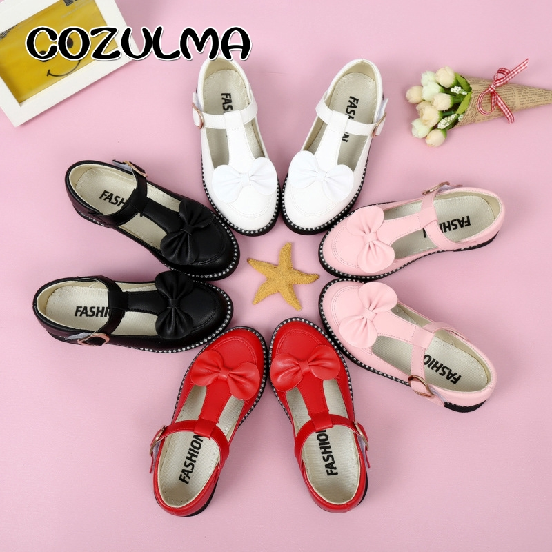 COZULMA Girls Princess Party Shoes Kid Bow T Strap Shoes Solid Color Summer Autumn Girls Sweet Flat Leather Shoes Size 27 37 in Leather Shoes from Mother Kids