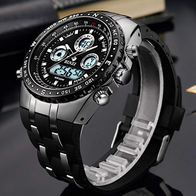 BINZI Brand Watches Men Fashion Sports Watch Men 39 s Military Waterproof Watches LED Digital Wristwatches Male Relogio Masculino in Digital Watches from Watches