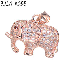 Modo Fyla Luxo Cubic Zirconia Encantos Animal Elefante Pingente de Colar Moda Jóias Acessório Clássico Para As Mulheres Presente dos amantes
