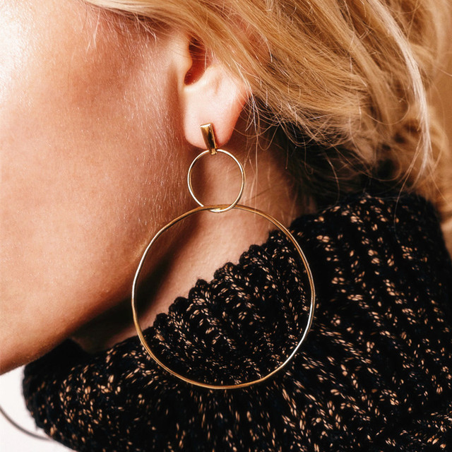 E0214 New Fashion Full Rhinestones Big Hoop Earrings 2018 Double Round Circle Pe