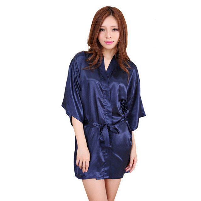 f95e3b9b65 Navy blue 2016 Short Style Women s Silk satin Robe Gown Kimono Gown Wedding  Party Bridesmaid Robe size S M L XL XXL XXXL