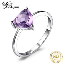 цена на JewelryPalace Trillion 1.1ct Natural Purple Amethyst Solitaire Ring 100% 925 Sterling Silver Women Fashion Jewelry Big promotion