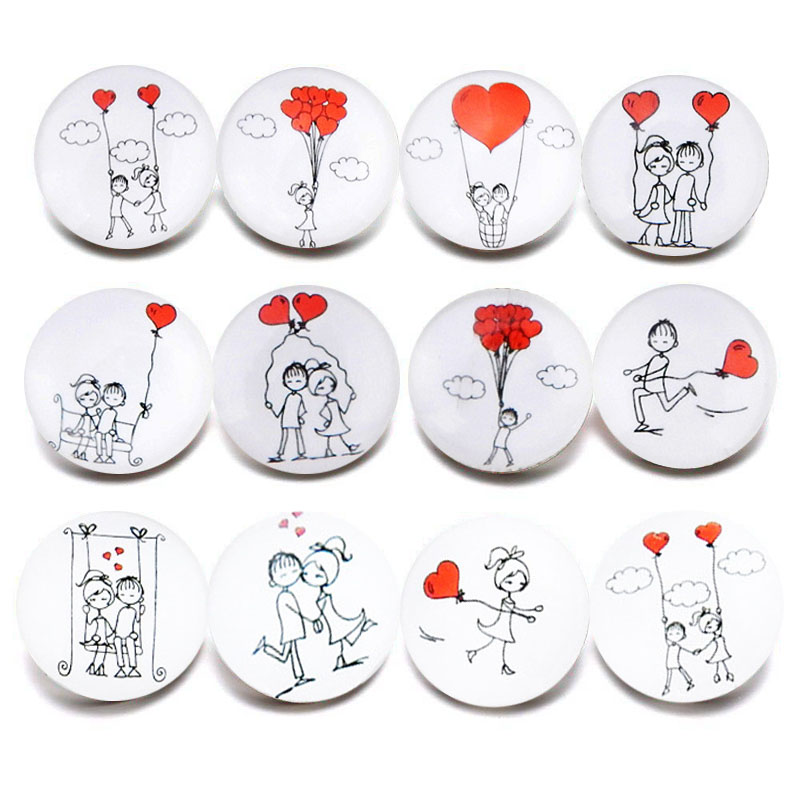 10 Teile/los Neue Glas Snap Schmuck Mixed Liebhaber Herz Muster 18mm Glas Druckknöpfe Für Diy Snap Armband Valentinstag Der Tag