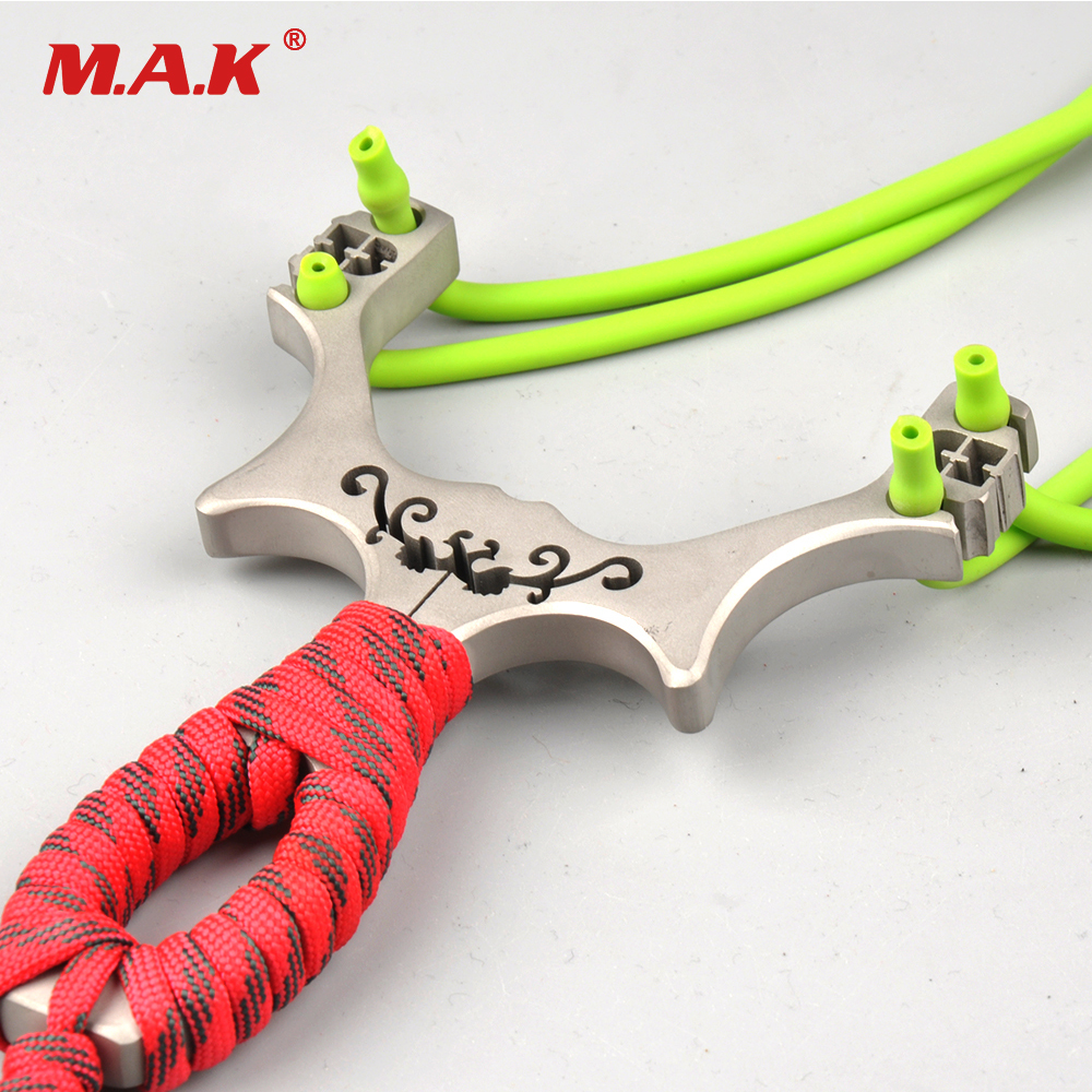 1pc Slingshot Stainless Steel Length 128mm Thickness 9mm Aiming Points with Rubber Bands Powerful Shooting Hunting Accessories 1pc slingshot stainless steel wrist length 11 6cm with 3 rubber bands for hunting shooting accessories archery catapult