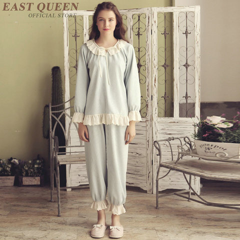 Women pajama sets in spring cute lace full length pants sleep & lounge sleepwear women pyjamas home clothes for female DD463  F Pakistan