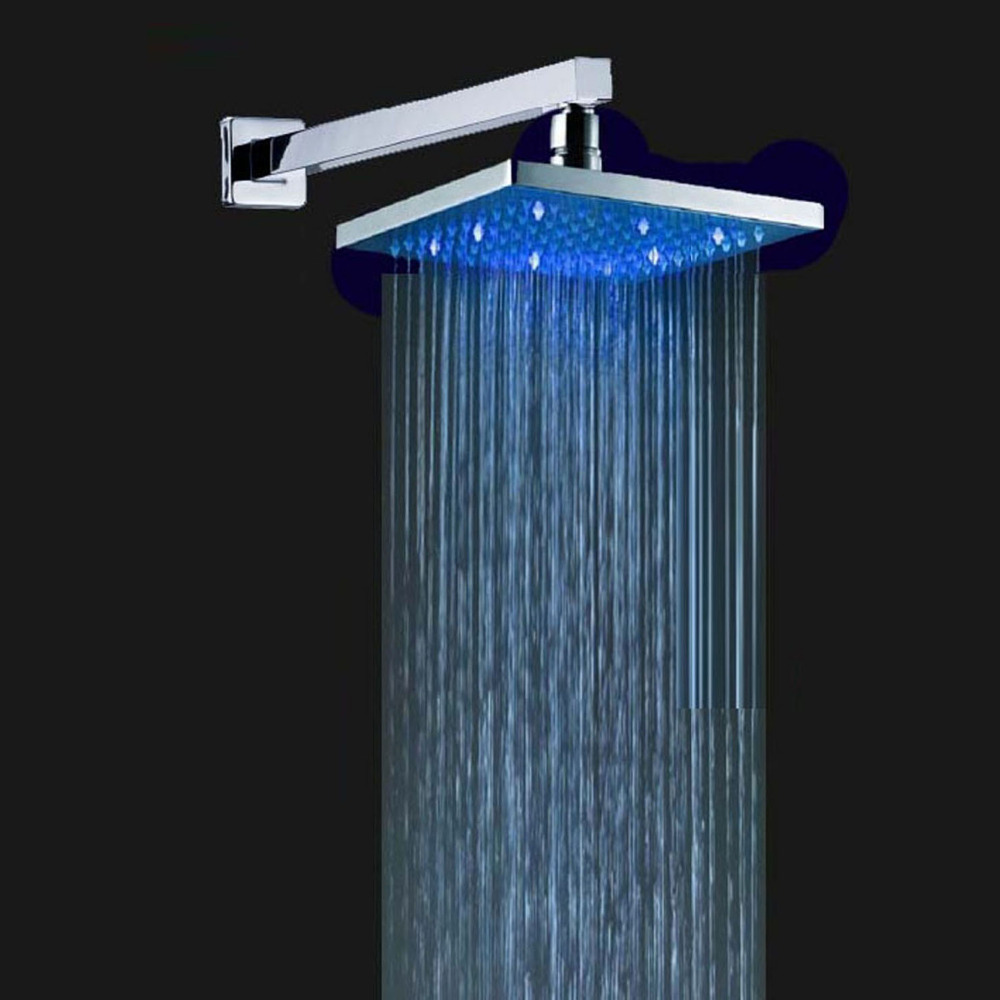 Chrome Polished ABS 3 Colors Changing Square Showerhead 8 Rain Shower Head Chrome Polished ABS 3 Colors Changing Square Showerhead 8 Rain Shower Head