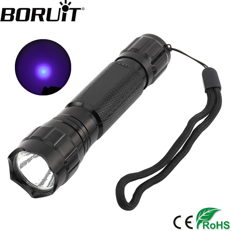 BORUiT WF-501B XPE Q5 LED UV Flashlight 395nm Purple Torch Adhesive Curing Travel Safety Detection Violet Light by 18650 Battery wf 501b led flashlight 375nm uv ultra blue violet blacklight waterproof torch lamp 18650