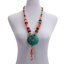 Wholesale Coconut Shell Geometric Tassel Pendant Necklace Multicolor Wood Bead Strand Handmade Knitted Women Bohemian Jewelry handmade wood triangle bead necklace