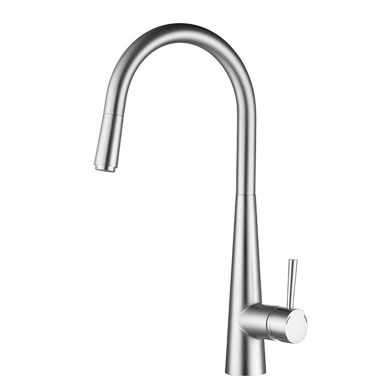 Laiton tirer sur le robinet de cuisine salle de bains mélangeur évier robinet chaud vanne froide robinets d'eau robinets brossé fini avec robinet de tuyau d'eau