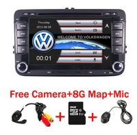 7Touch Screen 2 Din VW DVD navigation System For Seat Polo Bora Golf Jetta Tiguan Leon Skoda 3G GPS Bluetooth Radio Free Map