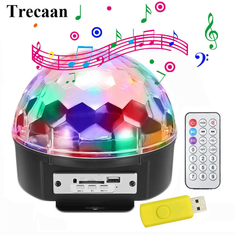 Trecaan  MP3 Music Crystal Magic Ball LED Stage Lamp Disco DJ Party Stage Effect Light MP3 Sound Actived LED Stage Laser Light novelty glass magic plasma ball light 3