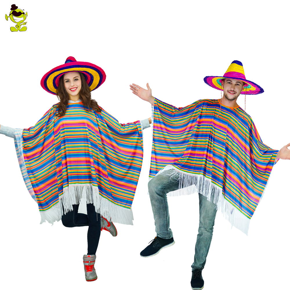 Adults Mexico Cloak Woman &Men Mexico Costume Mexico Cape For Halloween Party Fancy Dress Outfit  Costumes