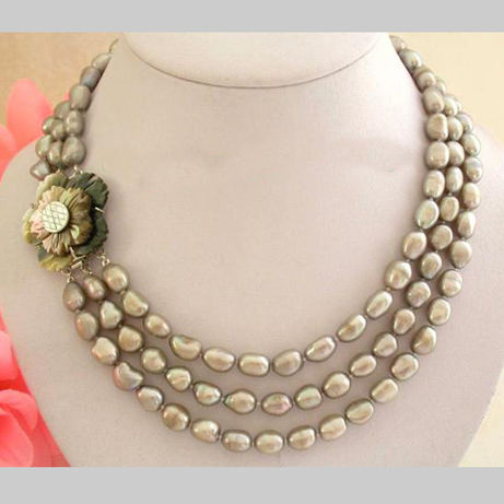 Stunning Real Pearl Jewellery, 3 Rows AA 9-11mm Gray Baroque Freshwater Pearls Necklace,Shell Flower Clasp. цена и фото