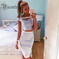 2015 New Free Shipping 2 Pieces Set Gorgeous Light Blue Off The Shoulder Grid Knitting Celebrity