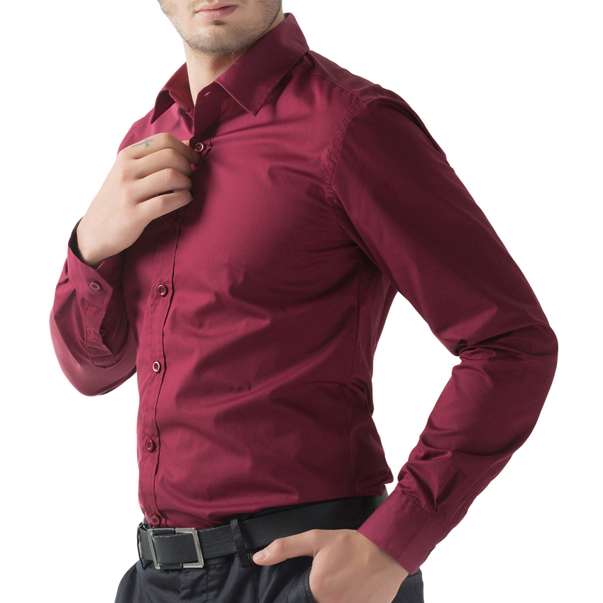 1bd888d52 2016 Spring Black White Light Blue Wine Red Dress Shirts Men's Camisa  Social Slim Fit Long Sleeve Hombre Shirt Tops-in Casual Shirts from Men's  Clothing on ...