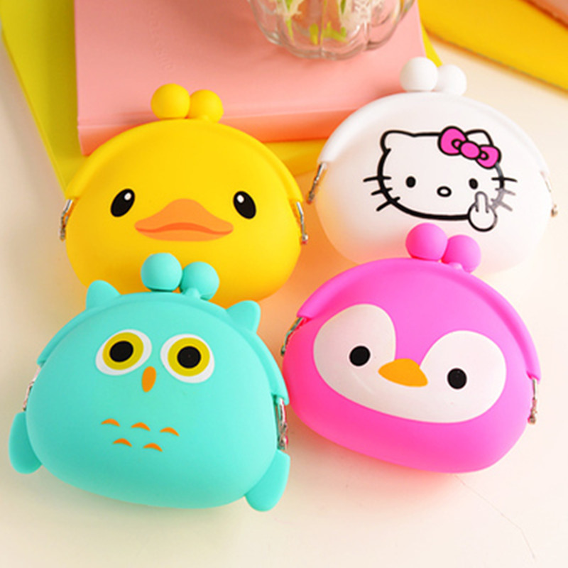 Korean Candy Colored Girls Coin Bag Cute Cartoon Silicone Mini Coin Purse Children Kids Gifts Pencil Bag Case