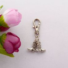 Фотография 2015 50pcs Vintage Silver Double Cowboy Boots Charm Lobster Button Keychain Fit DIY Key Chains Accessories Fashion Jewelry F527