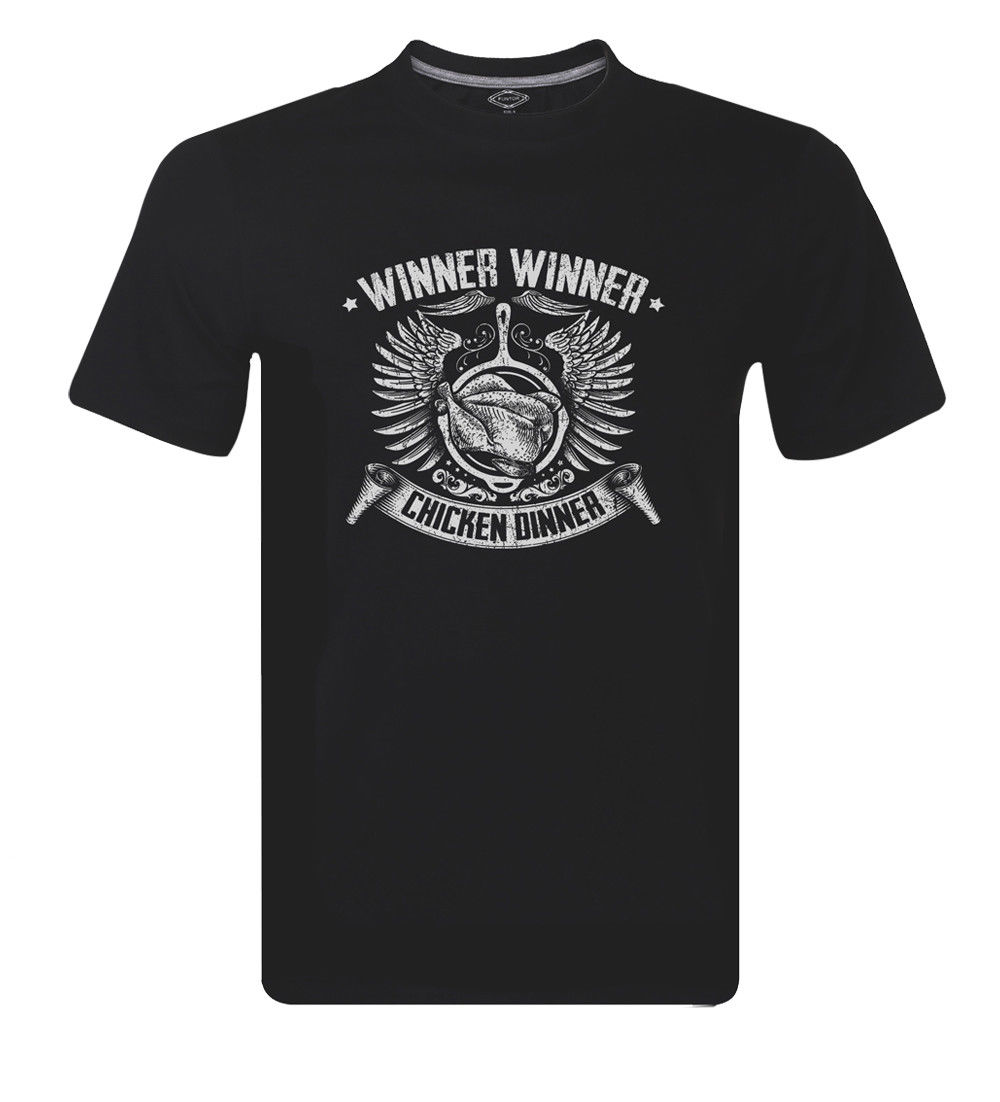 Winner Winner Chicken Dinner Game Hen Pan Mens Funny T-shirt Tees Tops Men Print Cotton O Neck Shirts top tee
