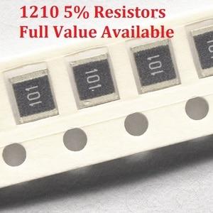100PCS/lot SMD Chip Resistor 1210 0R/1R/1.1R/1.2R/1.3R/ 5% Resistance 0/1/1.1/1.2/1.3/Ohm Resistors 1R1 1R2 1R3 k Free Shipping