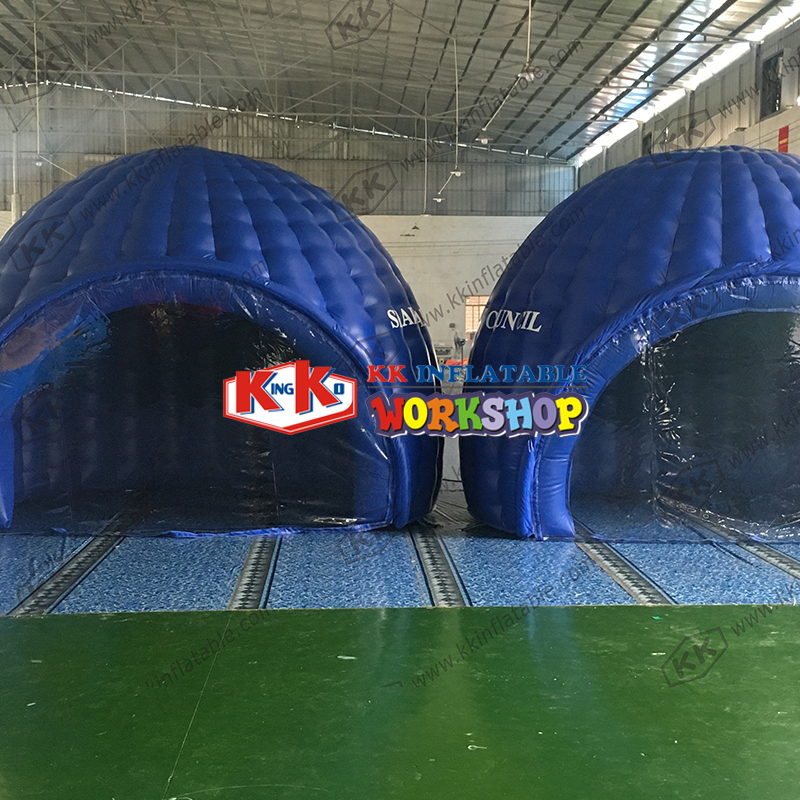 Dark blue ice house inflatable igloo tent