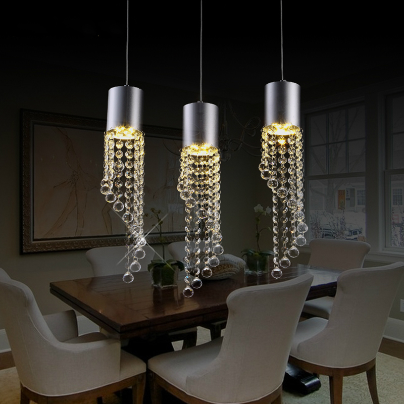Restaurant lamp three creative personality LED crystal modern minimalist dining room dining style single head Pendant Lights ring led minimalist european round pendant lamp three creative head table lamp crystal restaurant dining pendant light ta10173