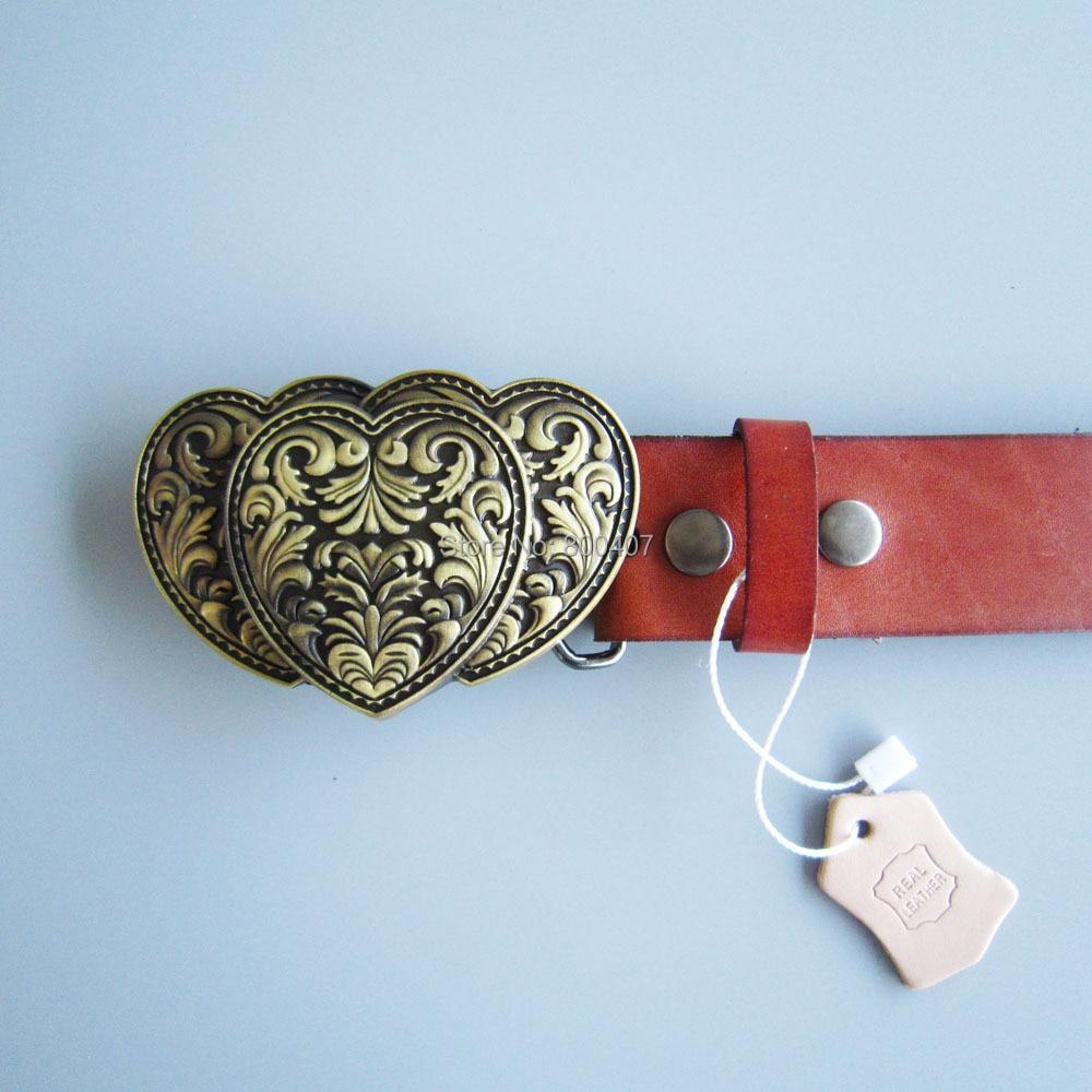 Bronze Plated Triple Heart Love Belt Buckle W Brown Genuine Leather Belt  Gurtel Boucle de ceinture Free Shipping-in Men s Belts from Apparel  Accessories on ... f7fe41b3b2e