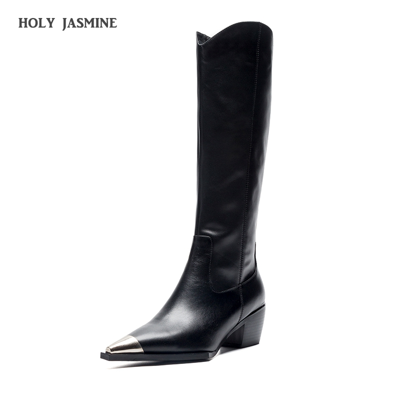 2019 Black Knee-high Boots Women Winter Superfine Fiber Pointed Toe Thick High Heel Metal Boots Zipper Plush Lining Ladies Shoe