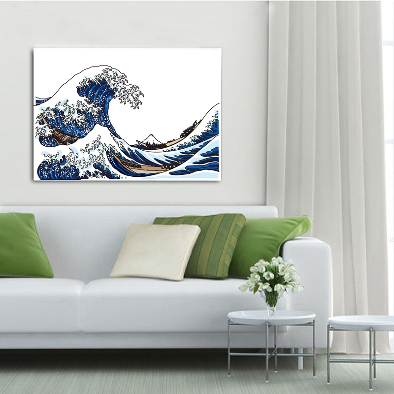the waves canvas art print wall pictures home living room decoration japanese style wave poster bathroom art canvas painting